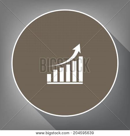 Growing graph sign. Vector. White icon on brown circle with white contour and long shadow at gray background. Like top view on postament.