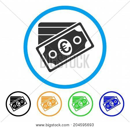 Euro Money Credit Card icon. Vector illustration style is a flat iconic Euro money credit card gray rounded symbol inside light blue circle with black, green, blue, yellow color versions.