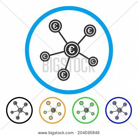 Euro Network Structure icon. Vector illustration style is a flat iconic euro network structure gray rounded symbol inside light blue circle with black, green, blue, yellow color variants.