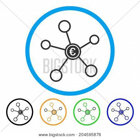 Euro Network icon. Vector illustration style is a flat iconic euro network gray rounded symbol inside light blue circle with black, green, blue, yellow color versions.
