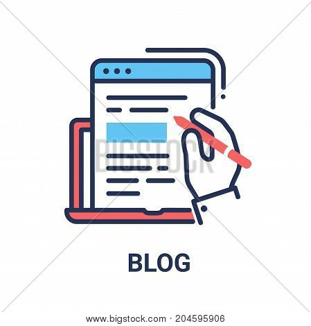 Blog - modern vector single line design icon. An image of a document window, text file, script coming from a laptop, writing hand, red and blue colors. Use it for your web page presentation.