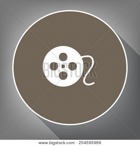 Film circular sign. Vector. White icon on brown circle with white contour and long shadow at gray background. Like top view on postament.