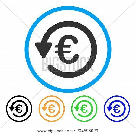 Euro Rebate icon. Vector illustration style is a flat iconic Euro rebate gray rounded symbol inside light blue circle with black, green, blue, yellow color variants.
