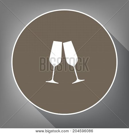 Sparkling champagne glasses. Vector. White icon on brown circle with white contour and long shadow at gray background. Like top view on postament.