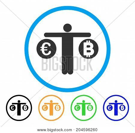 Person Compare Bitcoin And Euro icon. Vector illustration style is a flat iconic person compare bitcoin and euro gray rounded symbol inside light blue circle with black, green, blue,