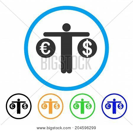Person Compare Dollar And Euro icon. Vector illustration style is a flat iconic person Compare dollar and euro grey rounded symbol inside light blue circle with black, green, blue,