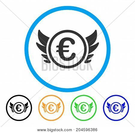 Euro Angel Investment icon. Vector illustration style is a flat iconic euro angel investment gray rounded symbol inside light blue circle with black, green, blue, yellow color versions.