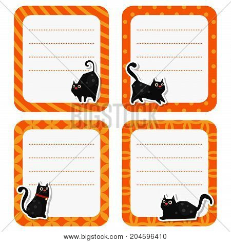 Cute cards with cat on white background