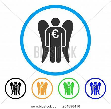 Euro Angel Investor icon. Vector illustration style is a flat iconic euro angel investor grey rounded symbol inside light blue circle with black, green, blue, yellow color versions.