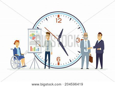 Teamwork for everyone - modern cartoon people characters illustration. Smiling business people with a big clock behind shake hands. A woman sits in wheelchair. A man presents infographic charts