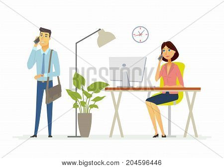 Collegues work in the office - modern cartoon people characters illustration. A sitting at the computer woman and a standing man talking on the phone. A workplace with clock, lamp, plant, table