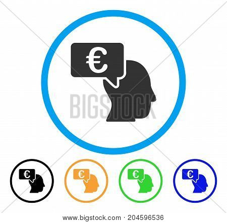 Euro Businessman Idea icon. Vector illustration style is a flat iconic euro businessman idea gray rounded symbol inside light blue circle with black, green, blue, yellow color versions.