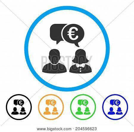 Euro Chat icon. Vector illustration style is a flat iconic euro chat gray rounded symbol inside light blue circle with black, green, blue, yellow color versions.