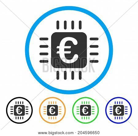 Euro Chip icon. Vector illustration style is a flat iconic euro chip grey rounded symbol inside light blue circle with black, green, blue, yellow color variants.