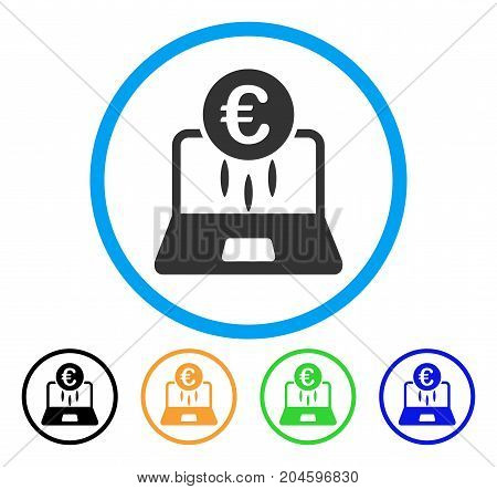 Euro Financial Startup icon. Vector illustration style is a flat iconic euro financial startup grey rounded symbol inside light blue circle with black, green, blue, yellow color variants.