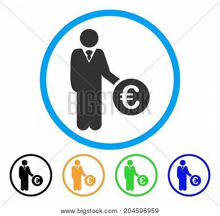Euro Investor icon. Vector illustration style is a flat iconic euro investor gray rounded symbol inside light blue circle with black, green, blue, yellow color variants. poster