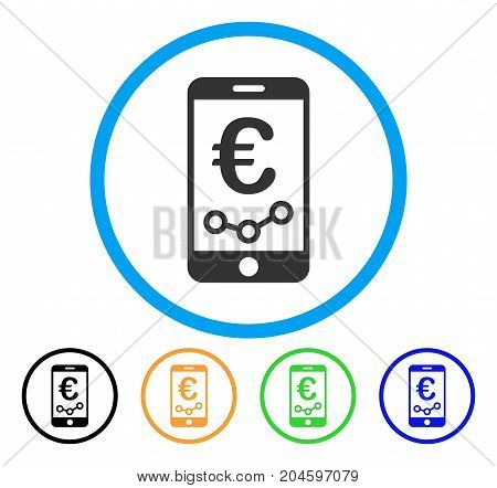 Euro Mobile Report icon. Vector illustration style is a flat iconic euro mobile report gray rounded symbol inside light blue circle with black, green, blue, yellow color variants.