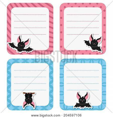 Cute cards with bat on white background