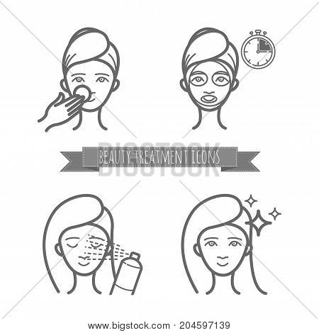 Beauty treatment icons, face mask, spray. Illustration for your design