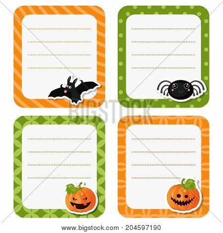Cute cards with Halloween symbols on white background