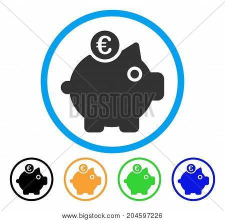 Euro Piggy Bank icon. Vector illustration style is a flat iconic euro piggy bank grey rounded symbol inside light blue circle with black, green, blue, yellow color versions.