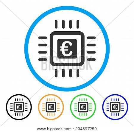 Euro Processor icon. Vector illustration style is a flat iconic euro processor grey rounded symbol inside light blue circle with black, green, blue, yellow color variants.