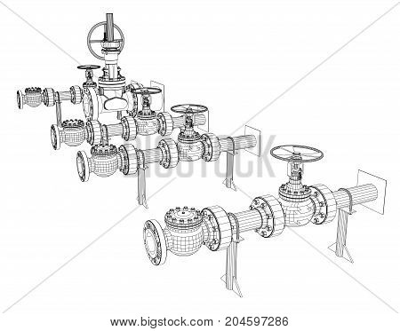 Wire-frame industrial valves. Vector rendering of 3d