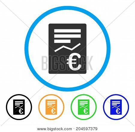 Euro Report icon. Vector illustration style is a flat iconic euro report gray rounded symbol inside light blue circle with black, green, blue, yellow color versions.