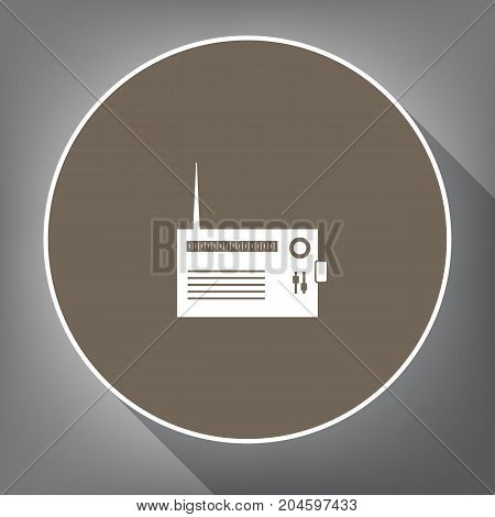 Radio sign illustration. Vector. White icon on brown circle with white contour and long shadow at gray background. Like top view on postament.