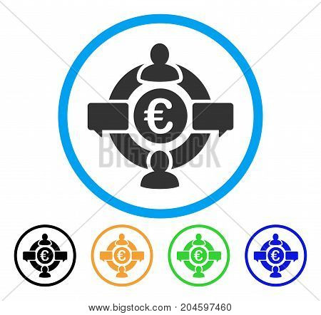 Euro Social Network icon. Vector illustration style is a flat iconic euro social network grey rounded symbol inside light blue circle with black, green, blue, yellow color versions.