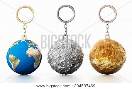 3D Earth Moon and Mars connected to keychain. 3D illustration.