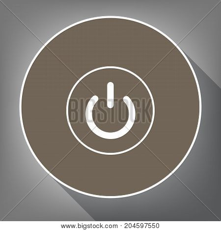On Off switch sign. Vector. White icon on brown circle with white contour and long shadow at gray background. Like top view on postament.