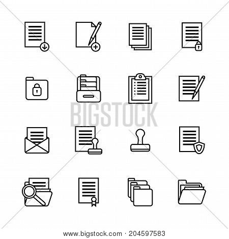 Folders Thin Line Icon Set Symbol Office or School Stationery Accessory for Web and App. Vector illustration of File Folder