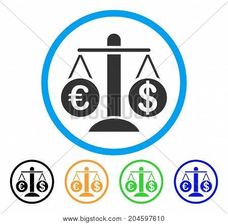 Currency Compare Scales icon. Vector illustration style is a flat iconic currency compare scales grey rounded symbol inside light blue circle with black, green, blue, yellow color versions.