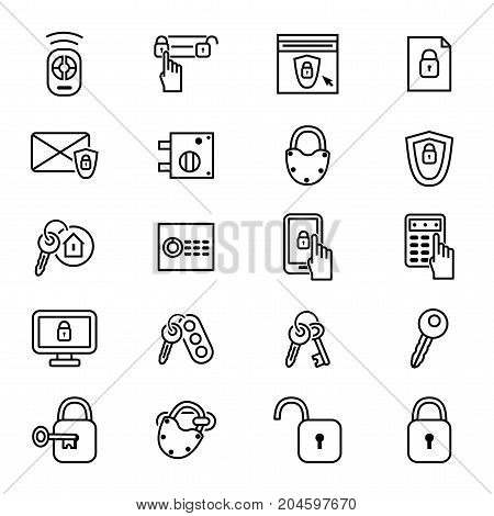 Keys and Locks Thin Line Icon Set Security Element Privacy Protect Technology Concept. Vector illustration of key and Lock