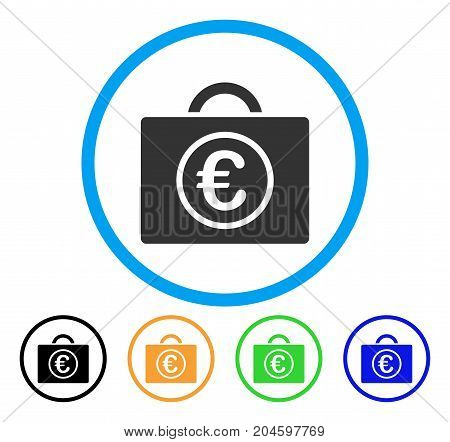 Euro Baggage icon. Vector illustration style is a flat iconic euro baggage gray rounded symbol inside light blue circle with black, green, blue, yellow color versions.