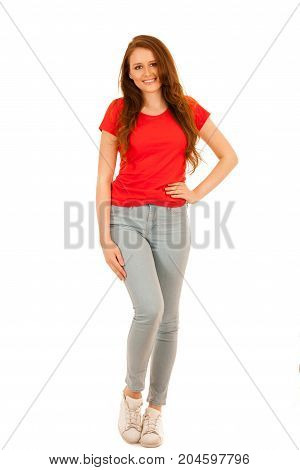 Attractive Teenage Woman Full Length Photo Isoalted Over White