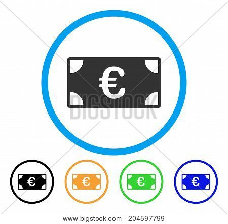 Euro Banknote icon. Vector illustration style is a flat iconic euro banknote grey rounded symbol inside light blue circle with black, green, blue, yellow color versions.