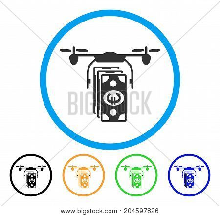 Euro Banknotes Drone icon. Vector illustration style is a flat iconic euro banknotes drone grey rounded symbol inside light blue circle with black, green, blue, yellow color versions.