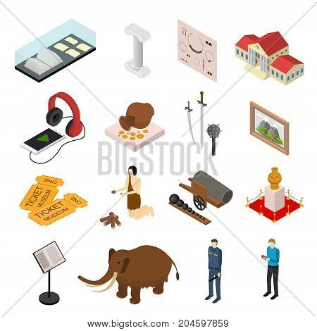 Museum Exhibits Galleries Set Isometric View Include of Ticket, Sculpture, Statue, Amphora and Dinosaur. Vector illustration of Exhibition Gallery