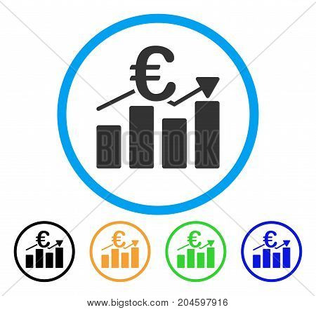 Euro Business Bar Chart icon. Vector illustration style is a flat iconic euro business bar chart gray rounded symbol inside light blue circle with black, green, blue, yellow color versions.