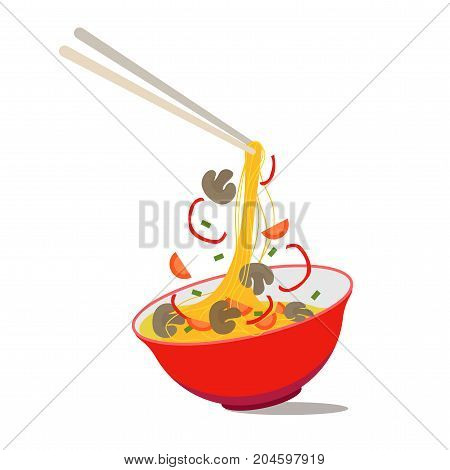 Cartoon Noodle Soup in Chinese Bowl Asian Food for Menus of Cafes and Restaurants Concept Flat Design Style. Vector illustration of Asia Ingredients Soup