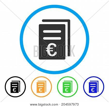 Euro Catalog List icon. Vector illustration style is a flat iconic euro catalog list grey rounded symbol inside light blue circle with black, green, blue, yellow color versions.