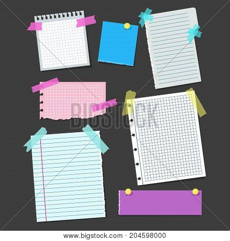 Realistic Blank Note Color Paper with Color Sticky Adhesive Tape Set Concept Reminder Board Office for Business Message. Vector illustration of Papers