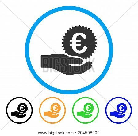 Euro Coin Offer Hand icon. Vector illustration style is a flat iconic euro coin offer hand gray rounded symbol inside light blue circle with black, green, blue, yellow color variants.