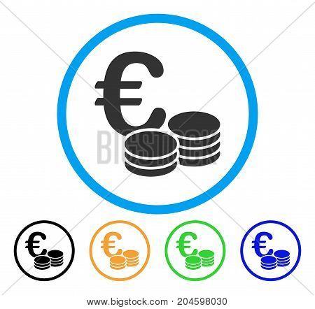Euro Coin Stacks icon. Vector illustration style is a flat iconic euro coin stacks gray rounded symbol inside light blue circle with black, green, blue, yellow color versions.