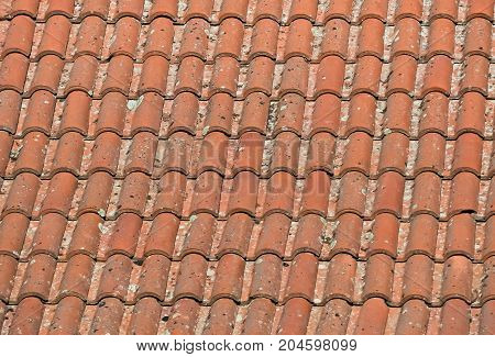 Closeup of an old rustic rooftop of a house