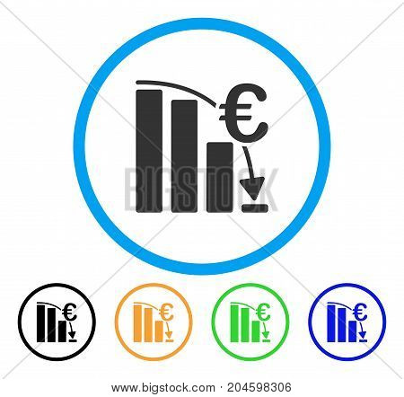 Euro Epic Fail Crisis icon. Vector illustration style is a flat iconic euro epic fail crisis grey rounded symbol inside light blue circle with black, green, blue, yellow color versions.