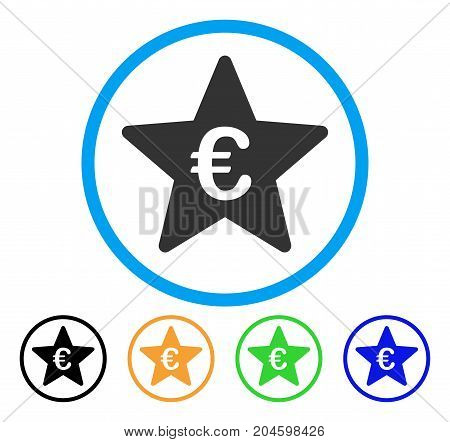 Euro Hit Parade Star icon. Vector illustration style is a flat iconic euro hit parade star grey rounded symbol inside light blue circle with black, green, blue, yellow color versions.