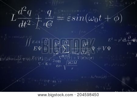 Background Of Many Physical Equations And Formulas. 3D Rendered